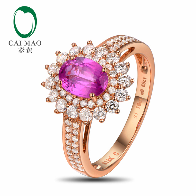 18k/Au750 Gold 1.02ct Pink Sapphire &  0.65ct Natural Diamond Engagement Ring Fine Jewelry