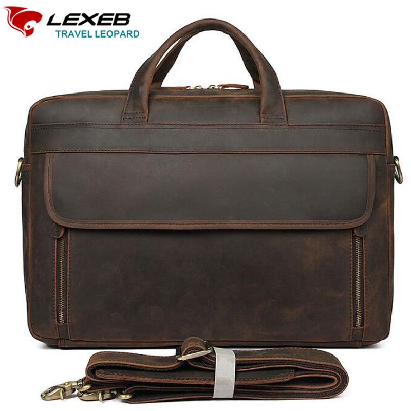 купить LEXEB Men's Vintage Crazy Horse Briefcase Attached 17 Inch Laptop Case Genuine Leather Business Travel Bag, Large Capacity по цене 8557.47 рублей