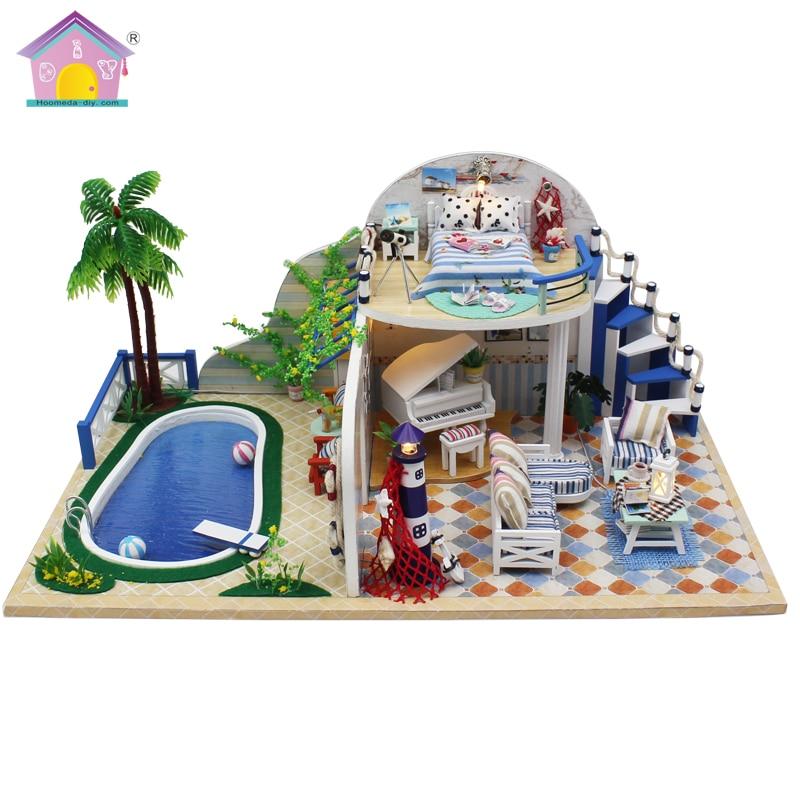 Doll House Furniture Diy Miniature Dust Cover 3D Wooden Miniaturas Dollhouse Toys for Christmas Clear summer