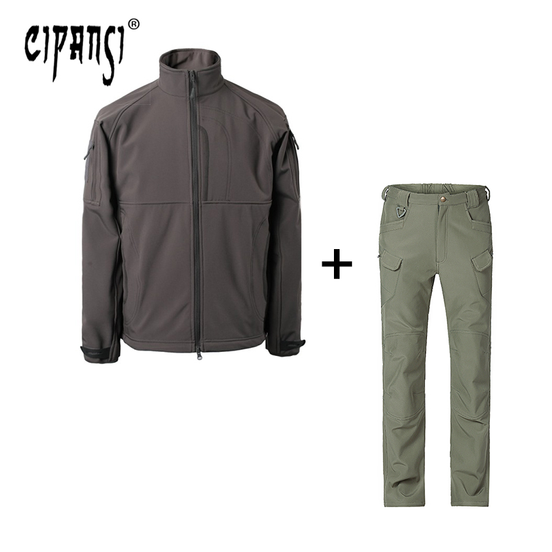 купить Mens SoftShell Waterproof Hiking Jacket/Pants Outdoor Military Officer Coat Windproof Thermal Sport Wear Fleece Lining ZHSPZ-3 недорого