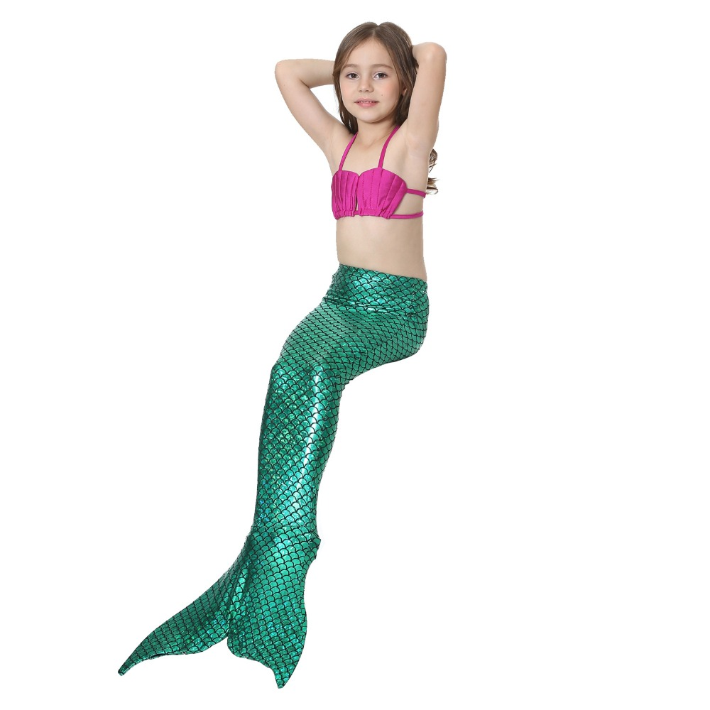 Girl Mermaid Tail Custome Girl Kids Mermaid Tail Clothing Children Fancy Green Dress Swimmable Bikini Set Top+Short+Mermaid Tail