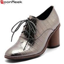 Moonmeek/горячая Распродажа 2017 года новое поступление весна-осень Кеды модные на шнуровке женские туфли-лодочки уличный стиль женские туфли на высоком каблуке обувь