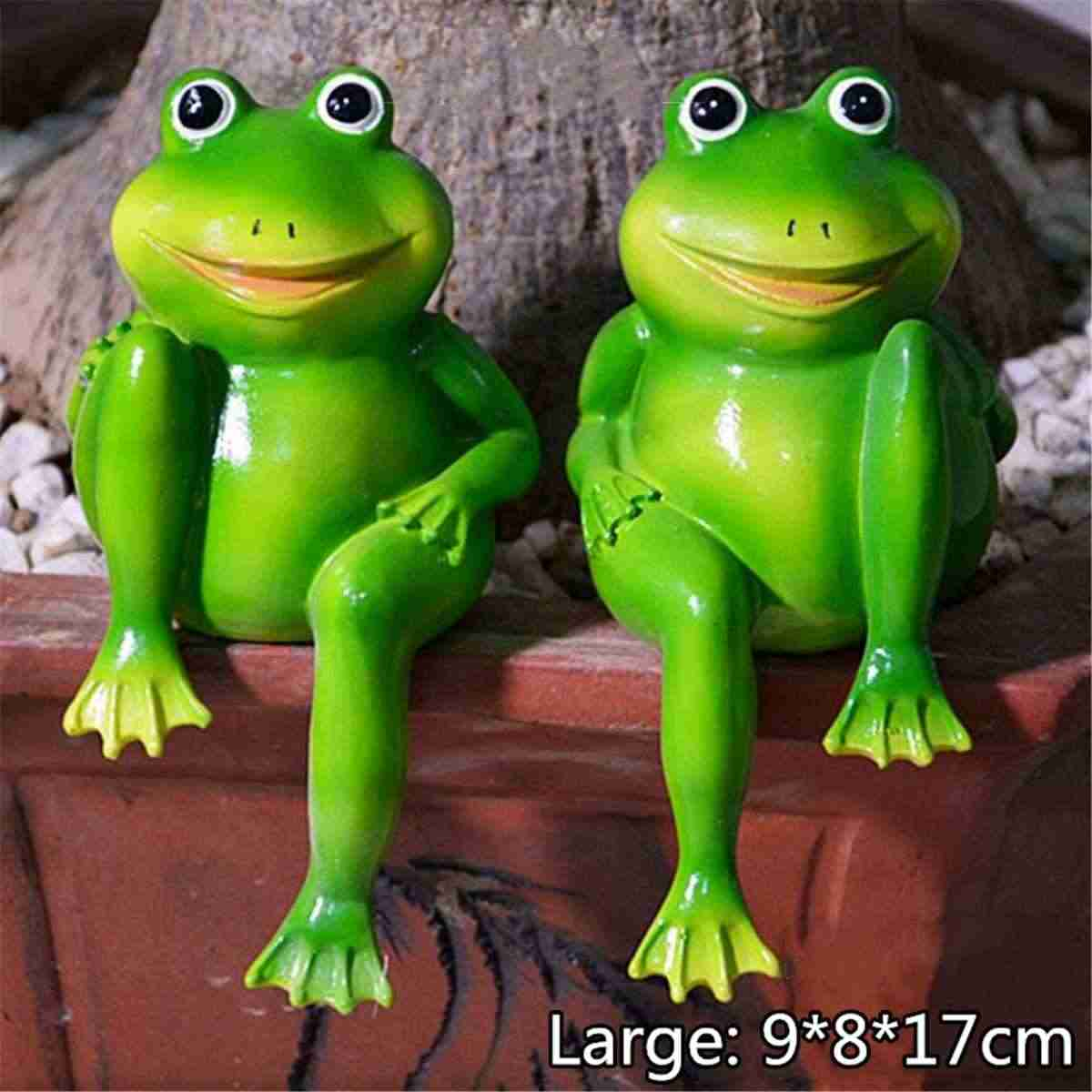 2 sztuk/zestaw śliczne żywica siedzi żaby statua na zewnątrz ogród sklep dekoracyjne żaby rzeźba dla domu biurko ogród Decor Ornament