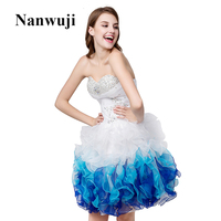 White Organza Crystal Short robe de Cocktail Dresses 2016 Beaded Knee Length Party coctail Dresses vestido corto coctel M99