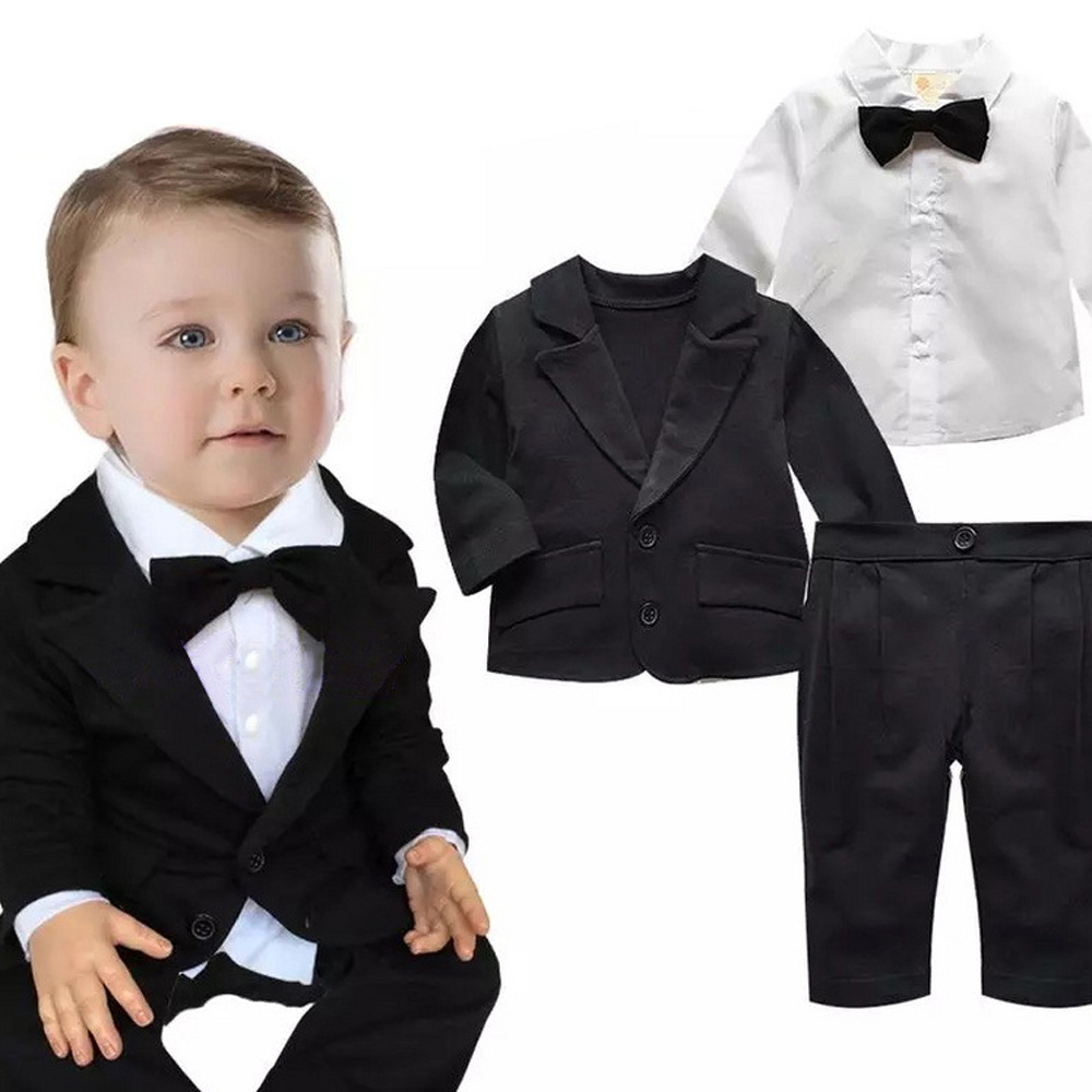 Baby Boys Formal Blazer Suits for Weddings Toddler Jacket+Blouse+Pants 3 pieces/set Costume Infant Cotton Single Breasted Blazer color block splicing single breasted plus size thicken blazer page 2