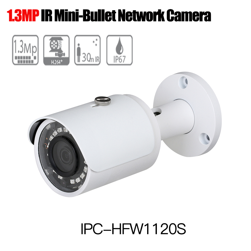 Dahua mini Bullet Camera IPC-HFW1120S 1.3mp Network outdoor IP Camera Support Smartphone viewing PoE CCTV Camera onvif Smart IR free shipping dahua cctv camera 4k 8mp wdr ir mini bullet network camera ip67 with poe without logo ipc hfw4831e se
