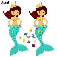 Aytai زخرفة حزب هدية عيد ديي الحرفية شعرت mermaid حفلة mermaid موضوعه الاطفال حزب الديكور عيد 100 سنتيمتر