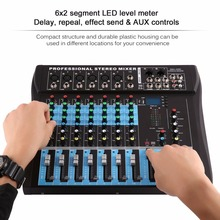 цены CT8 8 Channel Professional Stereo Mixer Live USB Studio Audio Sound Console Network Anchor Device Vocal Effect Processor
