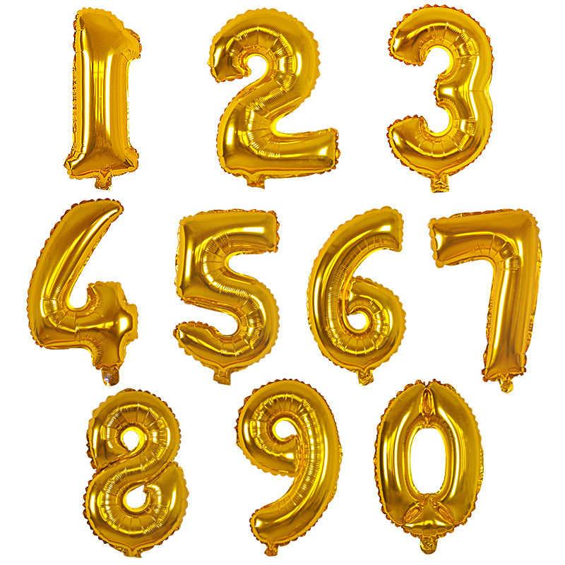 16 pulgadas 0-9 oro plata Número de globos de helio globos fiesta de cumpleaños boda decoración de globos de aire proveedor de fiesta
