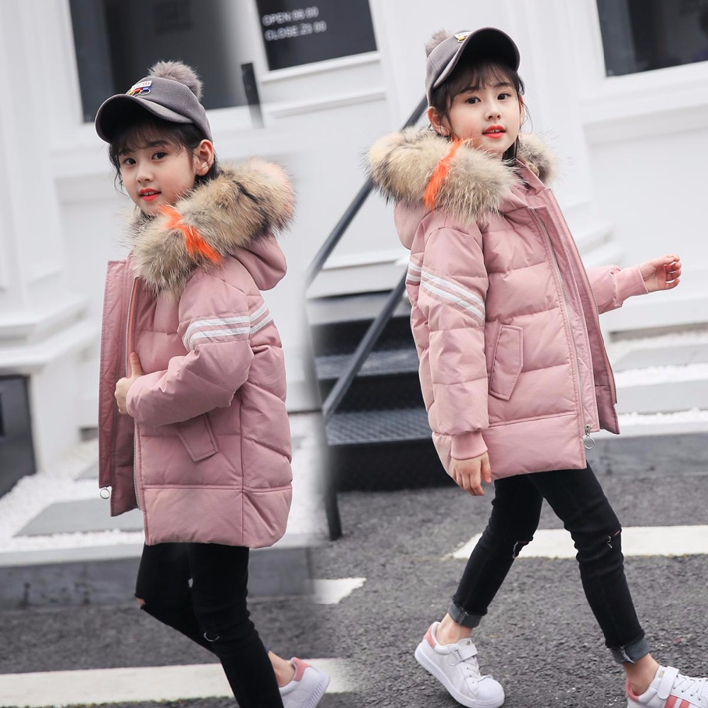 все цены на HSSCZL Girls Duck Down Jackets 2018 Brand Winter Thicken girl down coat coats Hooded fur collar Fashion Outerwear overcoat 5-12A