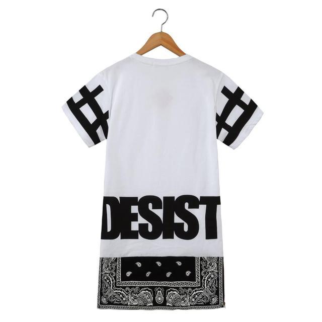 2017 T shirt Homens Streetwear Top Cessar Desist Zíper lateral alongar Bandana T shirt Das Mulheres Dos Homens T-shirt de manga Curta-Vestido Curto Tee
