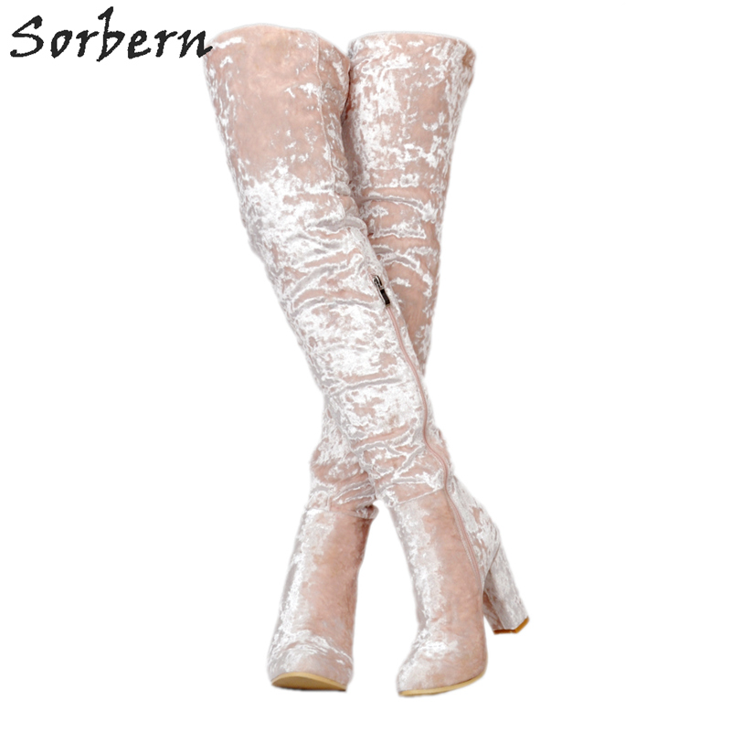 Sorbern Fashion Velvet Australian Boots Round Chunky Heeled Boots For Women Thigh High Women Booties Botines Negros Mujer 48 los cerezos negros spanish edition