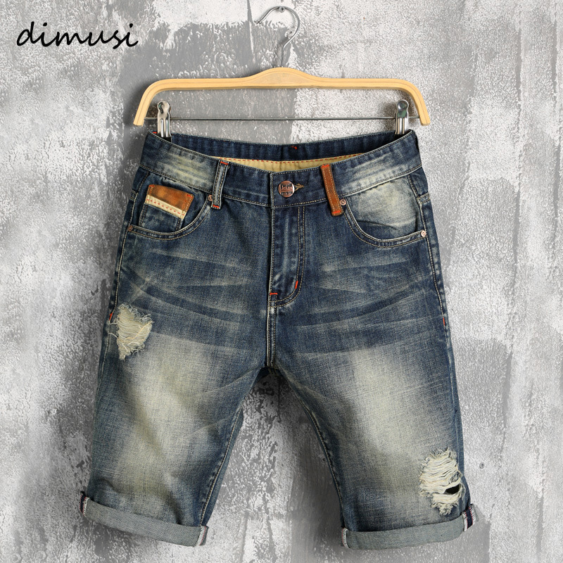 DIMUSI Men summer denim   shorts   male jeans men jean   shorts   bermuda skate board mens jogge ripped wave   Shorts   38,YA619