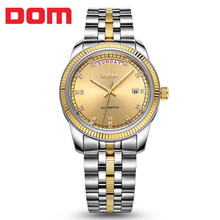 2017 New DOM Watch Handmade Men's Automatic Mechanical Watch Hollow Male Watch Business Waterproof Watch Week Calendar Table
