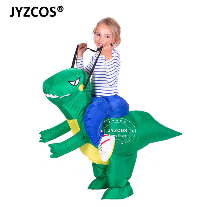 JYZCOS new boy girl Kids Inflatable Dinosaur Costume Fantasia Jurassic World Dinosaur Cosplay airblown Costume Party Dress Suits