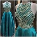 Shinning Frisada de Turquesa Azul Teal Vestidos de Baile Cetim Meninas Longo de Dois pedaço Vestido de Baile Uma Linha de Vestidos de Festa Vestidos De Baile de Luxo NP01