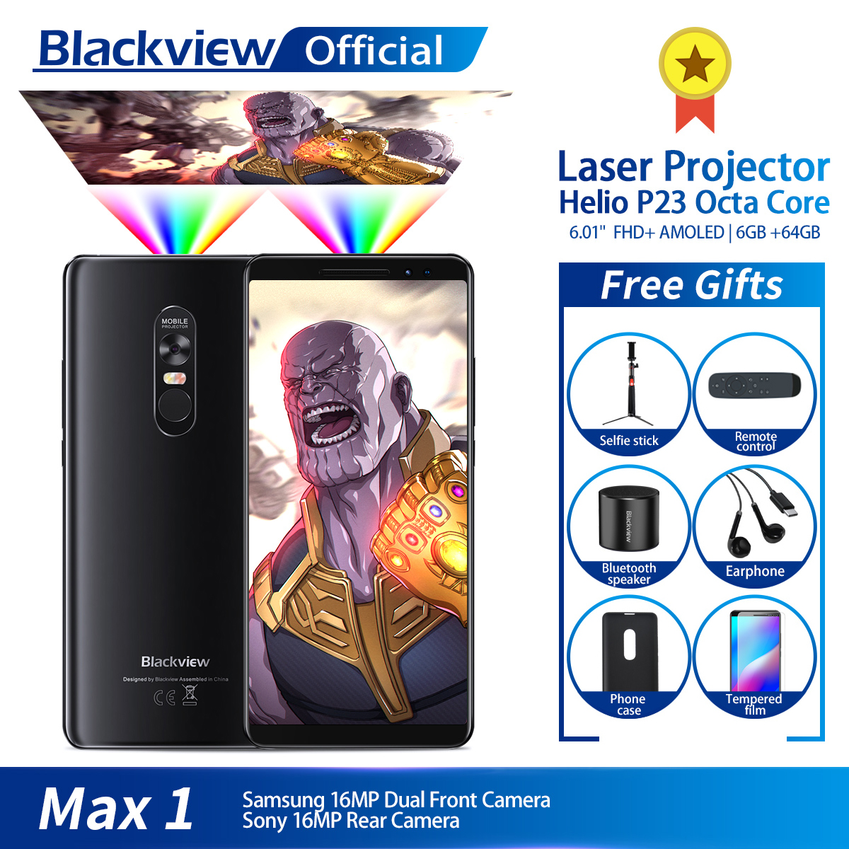 Blackview Max 1 Draadloze Projector Mobiele Telefoon 6.01 Amoled 4680 Mah Android 8.1 6 Gb + 64 Gb Home Theater Projectoren Smartphone Noch Te Hard Noch Te Zacht