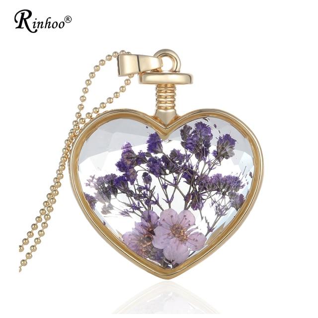 Naturliche Lila Reale Getrocknete Blumen Glas Halskette Anhanger