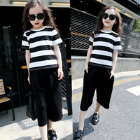 New Pattern Girl Short Sleeve Seven Part Pants Suit Full Sliver Grain Bigfoot Trousers 2 Pieces