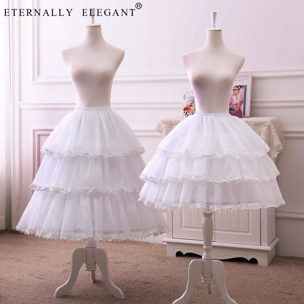 Short 50cm 68cm lolita Cosplay underskirt rockabilly crionline ball gown petticoat 3 Layers Hoop Ruffle A