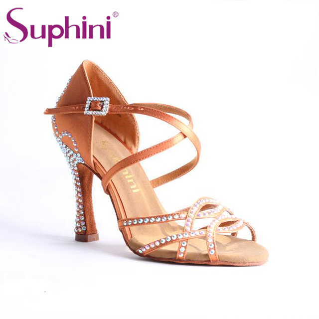 3f4e061851 Free Fast Shipping Woman Latin Salsa Shoes Crystal Tan Latin Dance Shoes  Professional Salsa Shoes