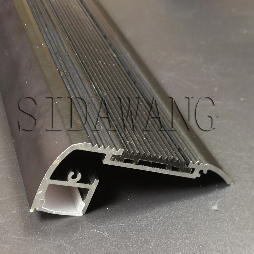 2meter piece Black anodized Stair step aluminum profile for led stripes Step nosing aluminium led housing