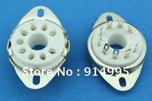 10PCS B9D new 9pin gold  feet plated tube sockets ceramic base  suitable for EL504/El519