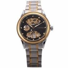 Winner Vintage Automatic Self Winding Golden Case Steampunk Gear Skeleton Steel Band montre Mechanical Mens Wrist Watch /PMW481
