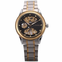 Winner Vintage Automatic Self Winding Golden Case Steampunk Gear Skeleton Steel Band montre Mechanical Mens Wrist Watch /PMW481