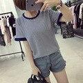 Verano de La Manera Dulce Delgada Volantes Mejores Amigos de Empalme de La Manga T Camisa de Rayas Camiseta Femenina Mujeres Ocio Tops M-XXL 3 Color