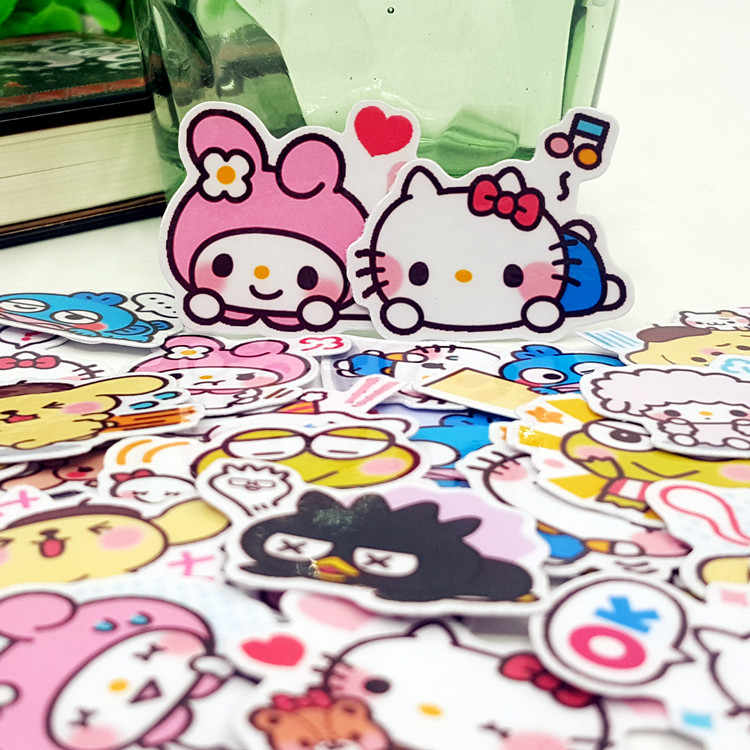40pcs Hello kitty Minna no Tabo Cartoon album Scrapbook waterproof decoration stickers DIY Handmade Gift Scrapbooking sticker