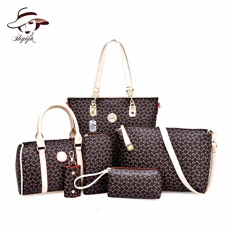 2018 New Women Handbags 6 PCS Composite Bag High Quality PU Leather Fashion Sweet Ladies Shoulder Bags Black Colors Set Bags miwind new fashion leather handbags high quality women shoulder bags buy one get another free full set 6 pieces more favorable