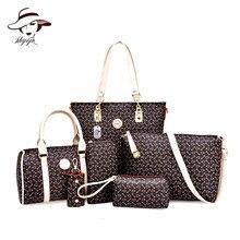 2018 Nowe torebki damskie 6 szt. Torba kompozytowa wysokiej jakości PU Leather Fashion Słodkie torebki damskie na ramię Czarne kolory Komplet torebek