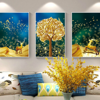 Diamond Embroidery Mosaic Painting Cross Stitch Full Rich Tree Triptych Elk Painting European Style DIY 5DSale Decoration Gift