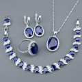 Blue Created Sapphire White Topaz 925 Sterling Silver Jewelry Sets For Women Bracelets Necklace Pendant Earrings Rings Free Box