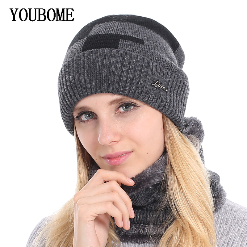 YOUBOME Brand Women   Skullies     Beanies   Winter Hats For Women Plus Knitted Hat Scarf Men Warm Wool Thick Girl Female   Beanie   Hat Cap