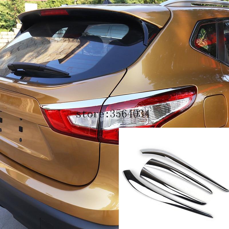 For Nissan Qashqai j11 2014 2015 2016 2017 Chrome Rear Tail Light Taillight Lamp Cover Trim Eyebrow Eyelid Molding Garnish Bezel