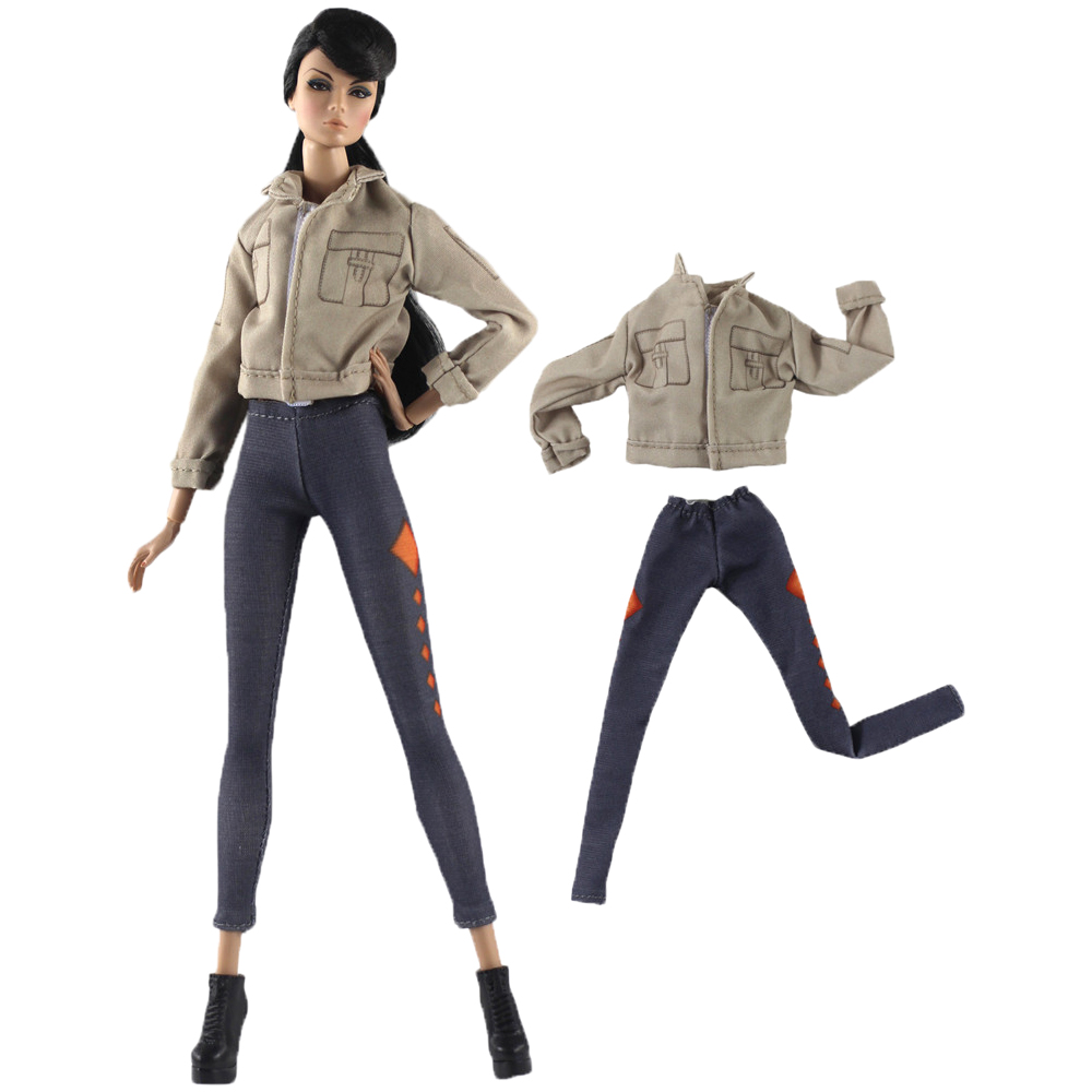 NK One Set  Doll Dress Handmade Autumn Clothing Long Jeans Top Fashion Clothes For Barbie Doll Accessories Toy Gift 33 12X