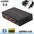 4 K X 2 K HDMI 2.0 1x2 HDMI splitter 1 Em 2 Out HDMI Switcher Conversor de áudio 1080 P Distribuidor (4 K/60Hz/HDCP2.2) com adaptador de energia