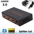 4KX2K HDMI 2.0 1x2 HDMI splitter 1 In 2 Out HDMI Switcher audio Converter 1080P Distributor (4K/60Hz/HDCP2.2) With power adapter