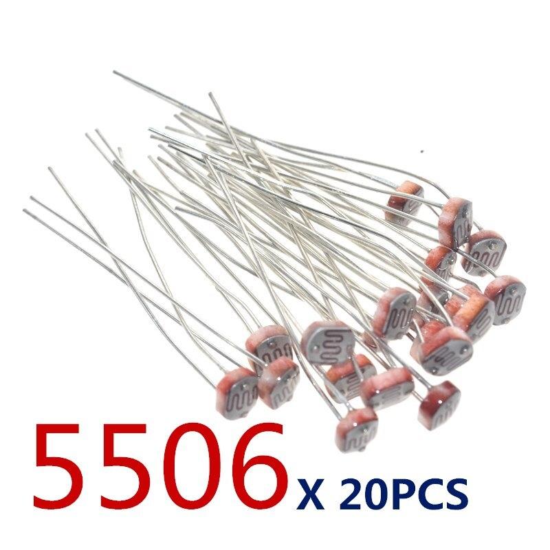 20 шт. x 5506 светильник-зависимый резистор LDR 5 мм Фоторезистор оптом и в розницу фотопроводящее сопротивление для arduino