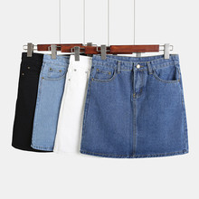 Hot 2019 Plus Size Mini Jeans Skirt Women Cotton A-Line Saia Femme Korean Modis Black White High Waist Summer Denim Skirts