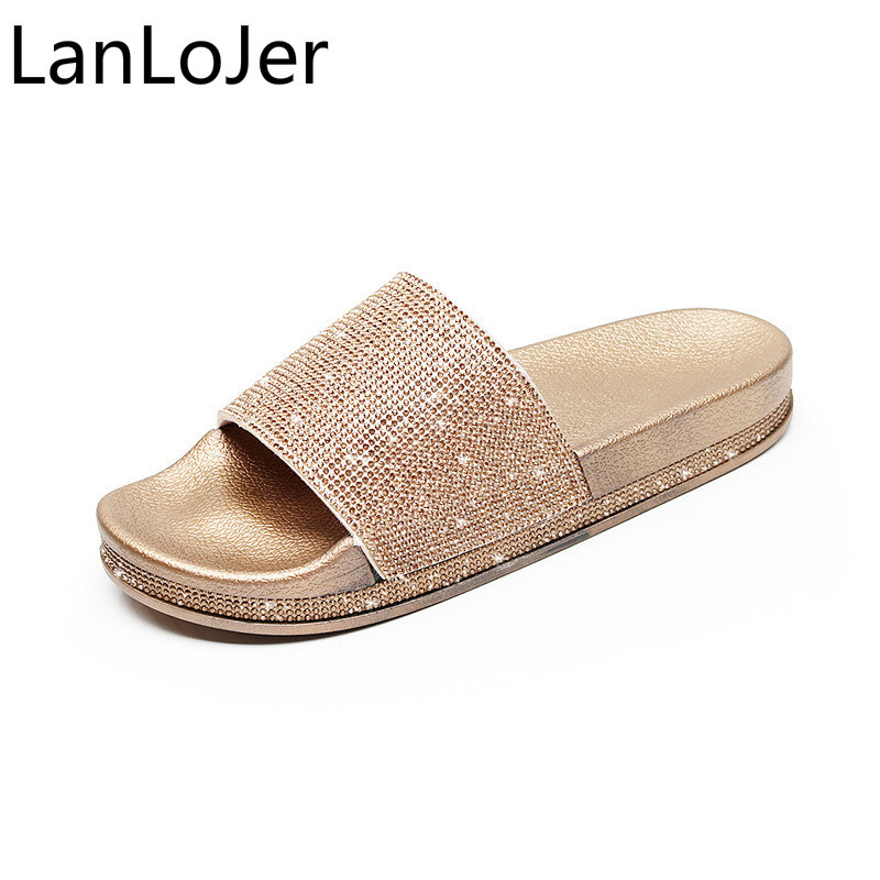 Crystal Rhinestone Women Slides Bling Summer Gold Silver Slippers Women Shoes Flip Flops Sandals Slip on Woman Zapatillas Mujer