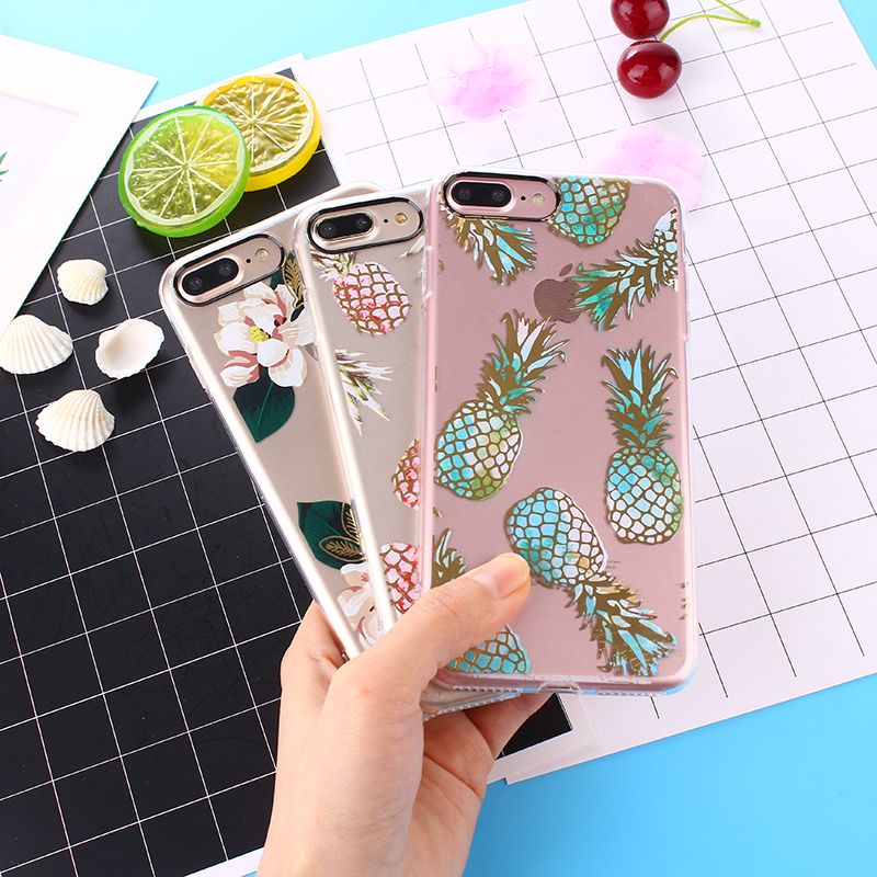 KMUYSL Fashion Colorful Flower Pineapple Transparent Silicon Coque For iPhone 7 Case For iPhone 6 6s Plus 8 7 Plus X Cases
