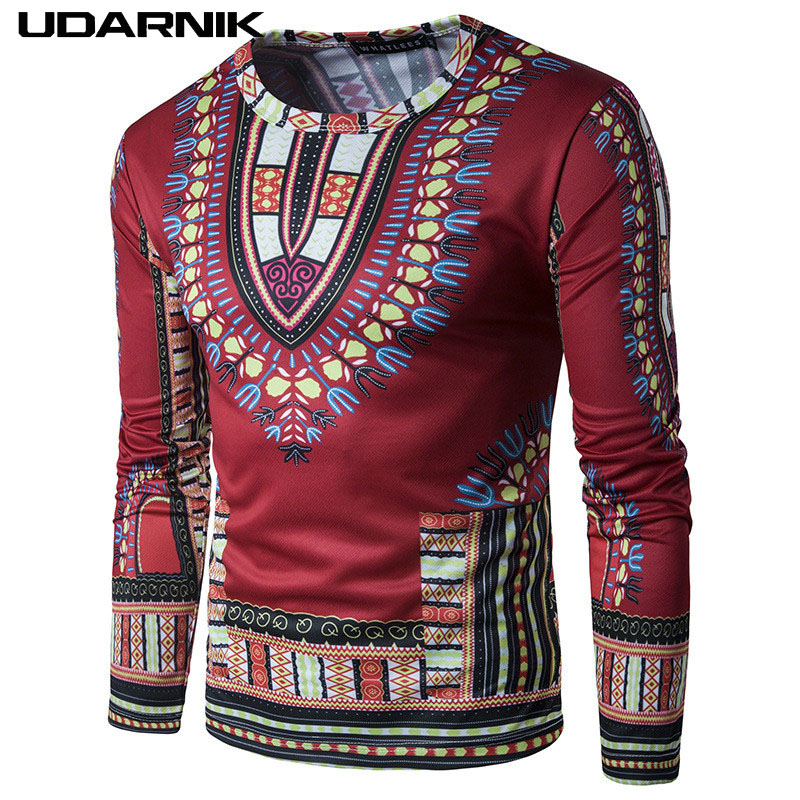 8d4d73402db3 Men Smooth Long Sleeve T-Shirt Vintage Geometric Pattern O-Neck Tee 7 Colors