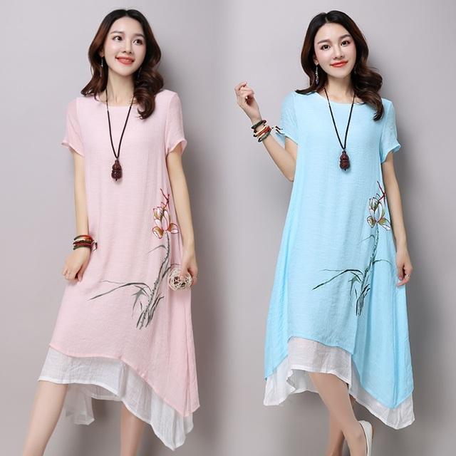 Cotton linen vintage floral print plus size women casual loose long summer dress elegant vestidos clothes 2019 dresses