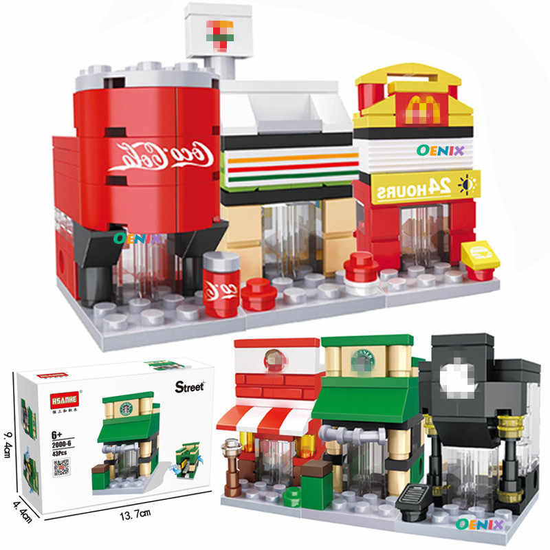 Single Small City Street View Mini City Building Blocks Fast Food Hotel Drink Phone Store DIY Toys for Children