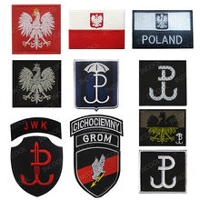 Poland Flag Bordir Patch Bahasa Polandia Eagle Tentara Pasukan Khusus Militer Moral Patch Taktis Lambang Aplikasi Bordir Lencana(China)