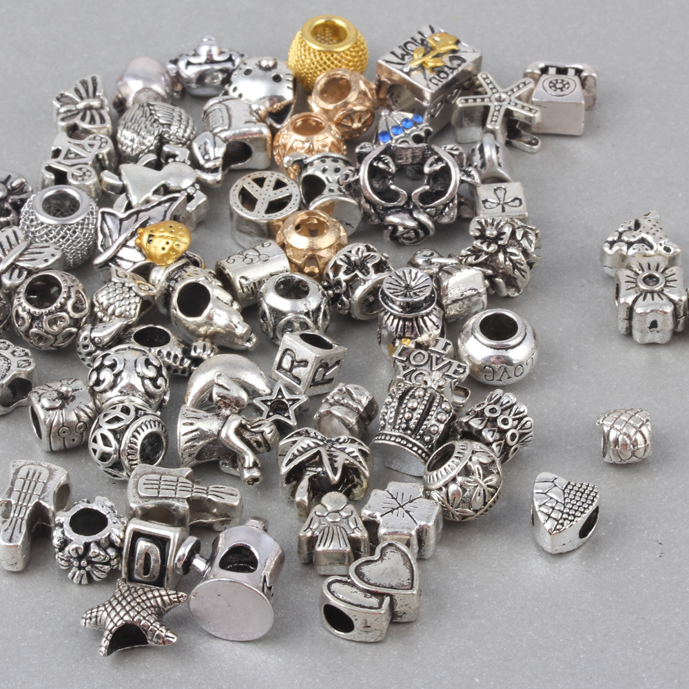 Random Mixed Vintage European Charm Beads Fit Pandora Bracelets Bangles 50pcs/ lots