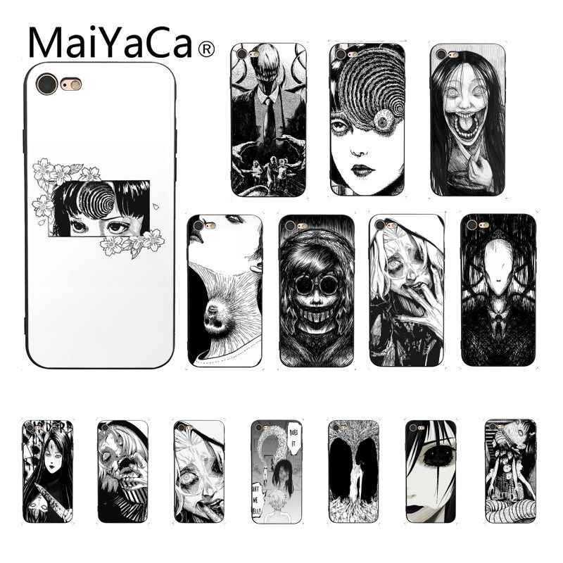 Maiyaca Junji Ito Tees Horror DIY Painted Phone Case for iPhone 8 7 6 6S Plus X XS MAX 5 5S SE XR Cover Coque Shell Fundas Capa